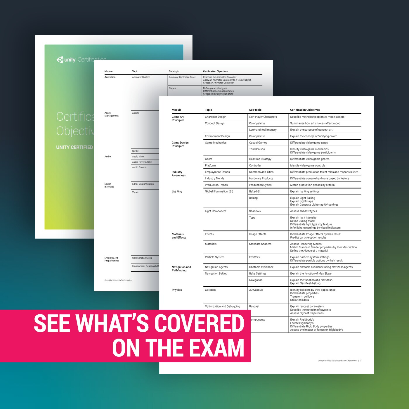 See what's covered on the Unity Certified Developer Exam