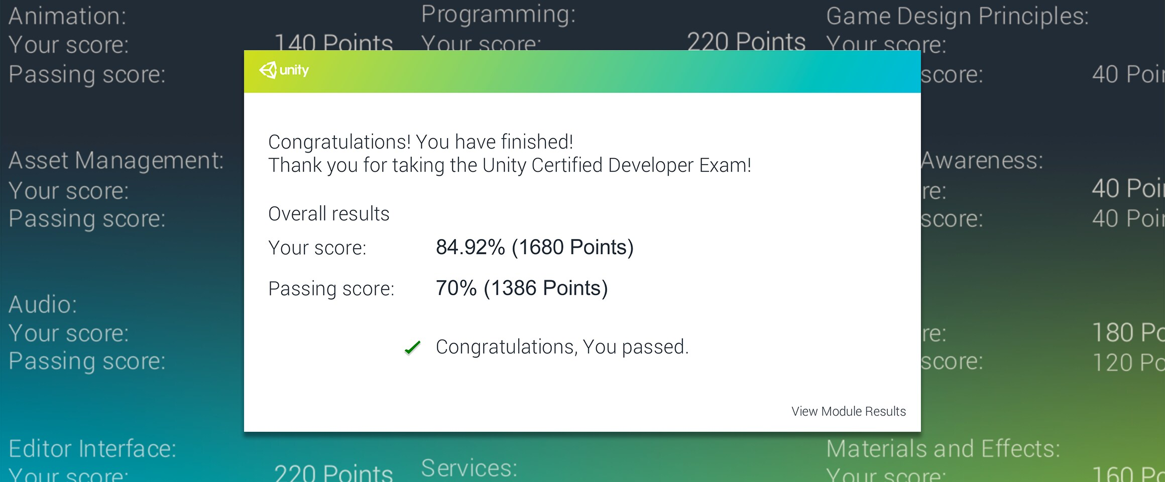 Unity Certification Exam Results