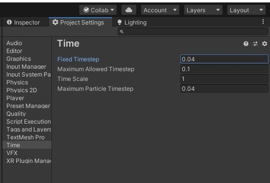 Setting Fixed Timestep to 0.04 in Project Settings