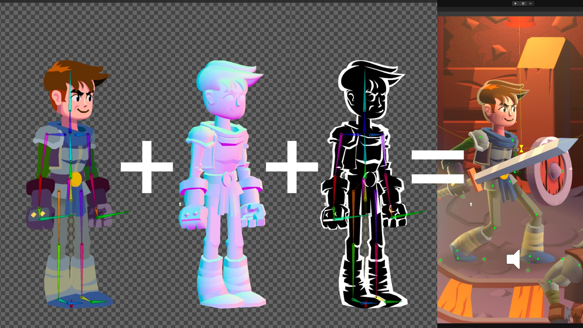 Image showing the process from basic character model to fully working character.