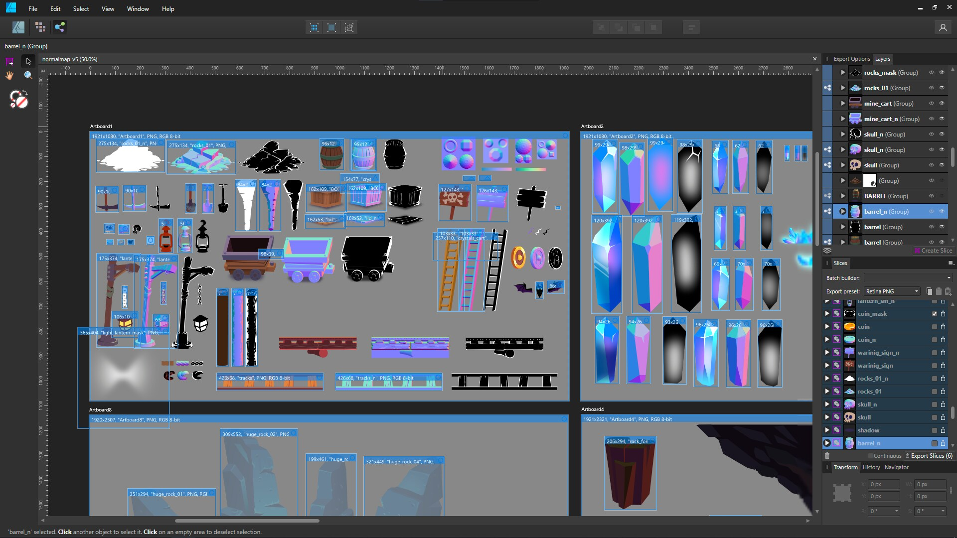 Screenshot of editor with game art/objects.
