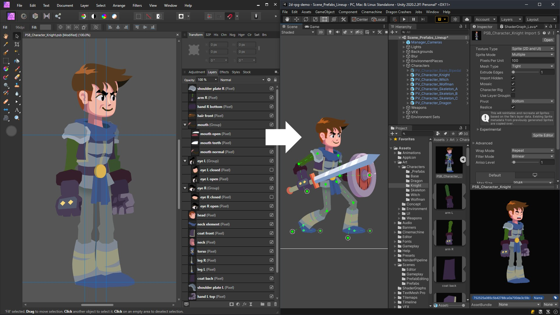 Editor screenshot. Game character is in the middle with all the different layers on the right.