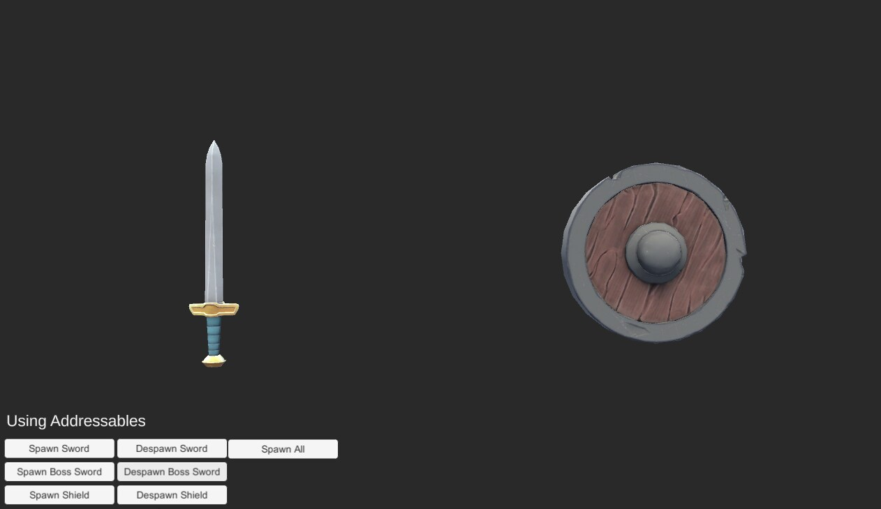 Left is a silver sword and right is a bronze and wooden shield.