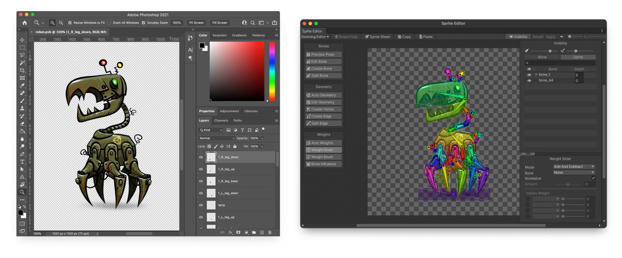 The character in Photoshop is a Prefab in Unity, ready to rig in the Sprite Editor