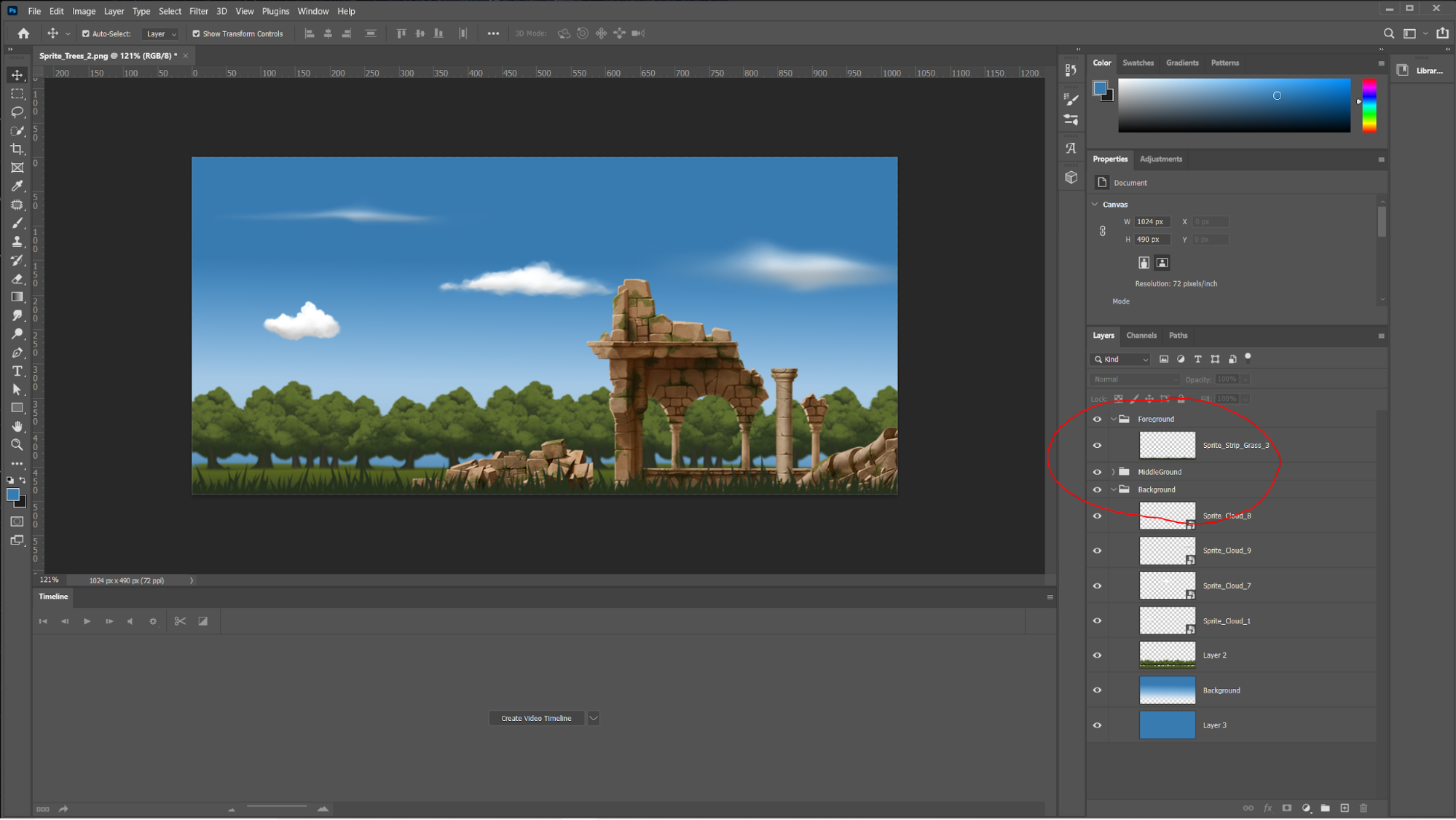 In editor screenshot - scene set is sunny and there are ruins.