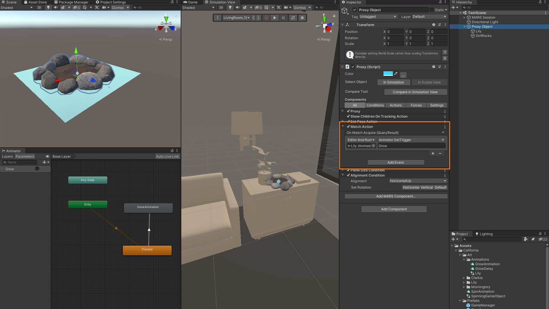 Menus in the Unity editor are on the right. Simulation view has an animated interior of a room