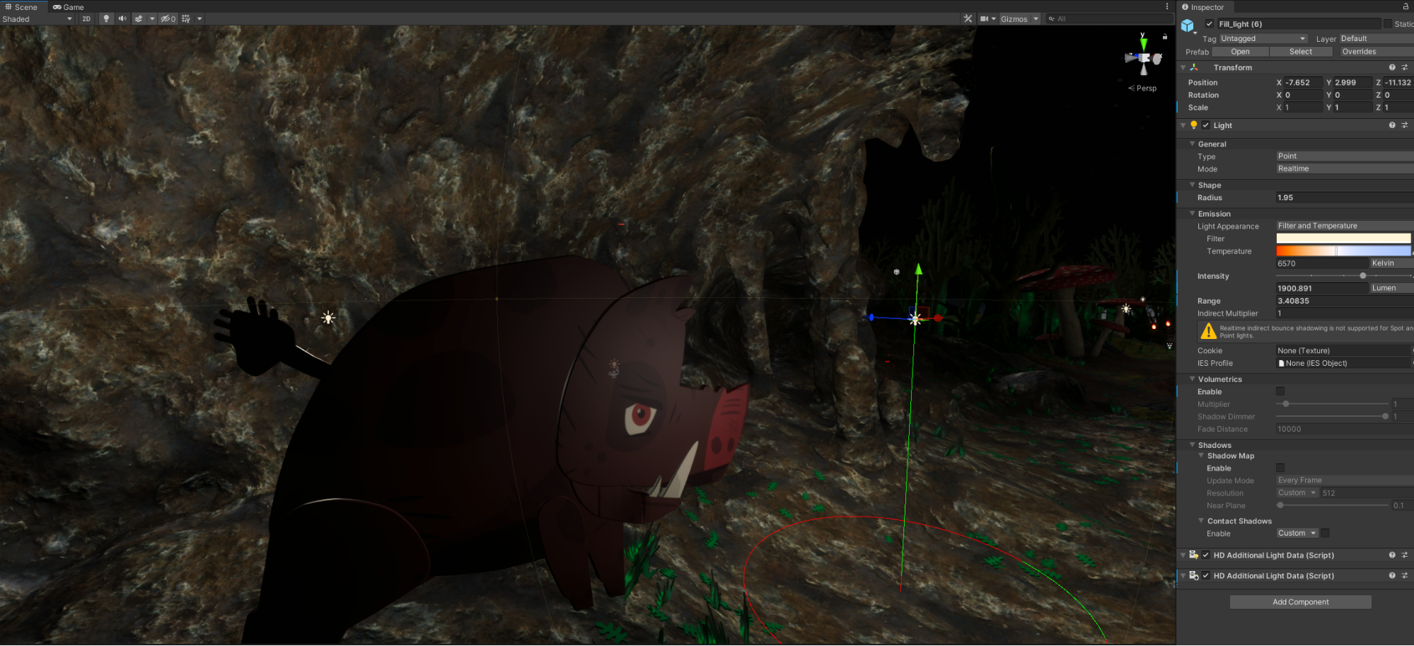 The project inside Unity. A woolly mammoth type creature is on screen