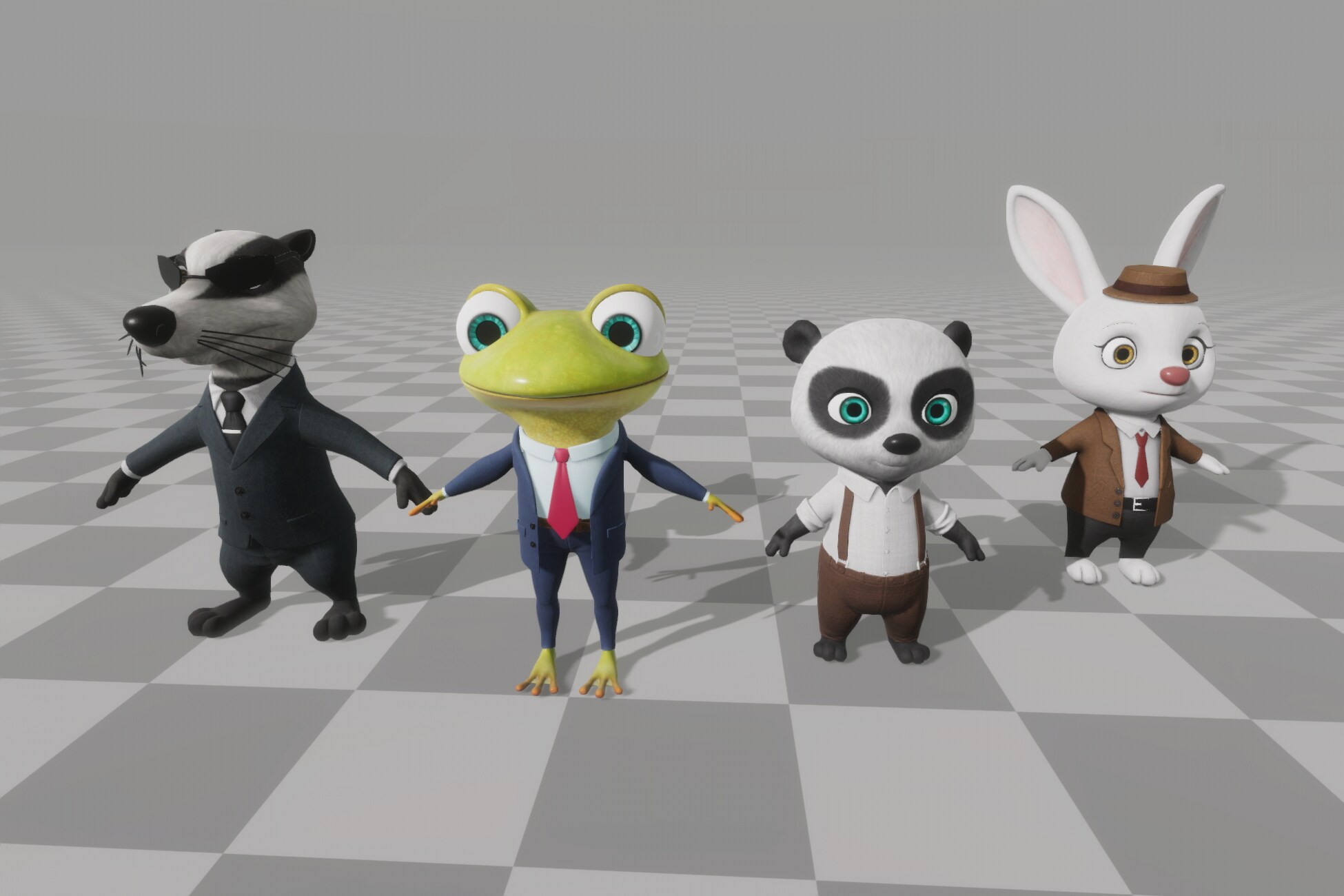 badger, a bullfrog, a bunny, and a bear in T-pose, standing side by side by side.