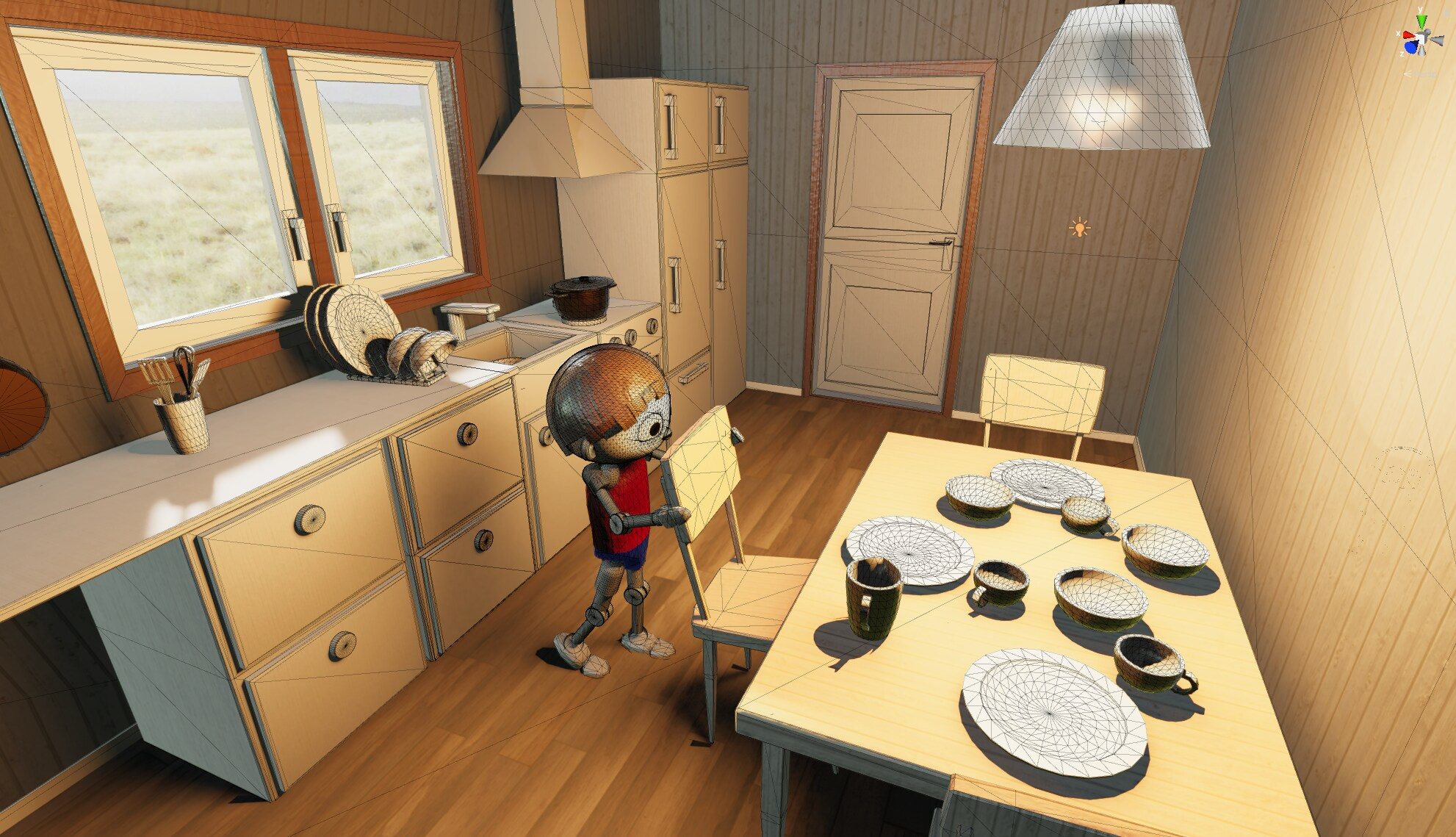 A still from Project Leolina. A robot-like boy is pulling out a chair at a table in a kitchen. This time the shot is from above.