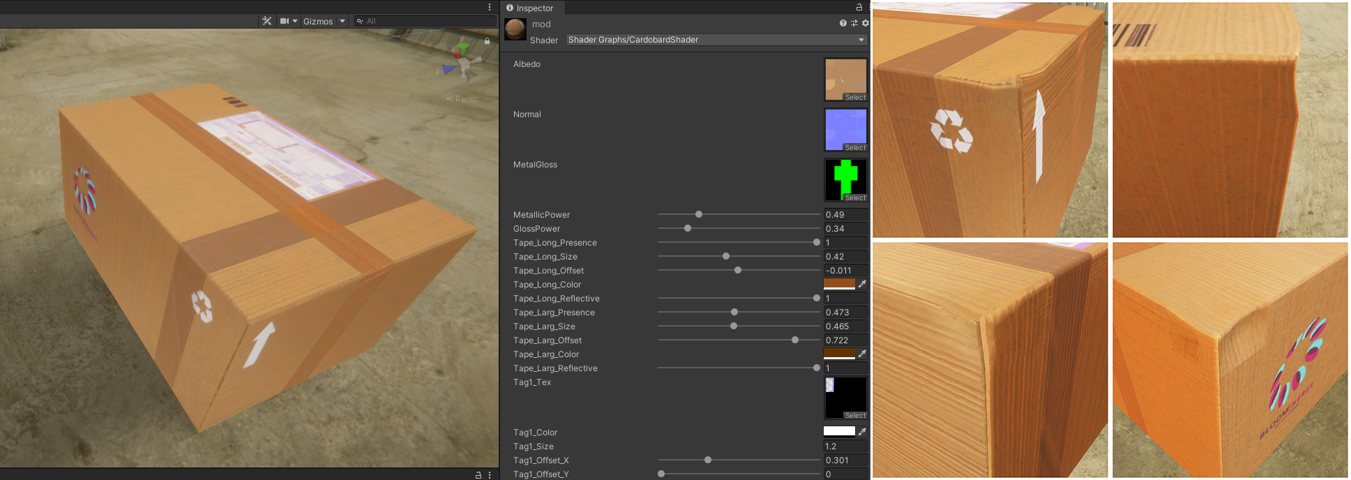 Screenshot of the Unity editor where shader-based cardboard boxes are being edited