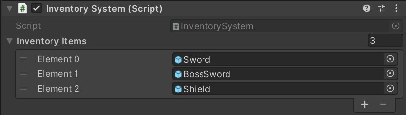 Screenshot of unity element editor menu with the options 'sword', 'Boss Sword' and 'Sheild'.