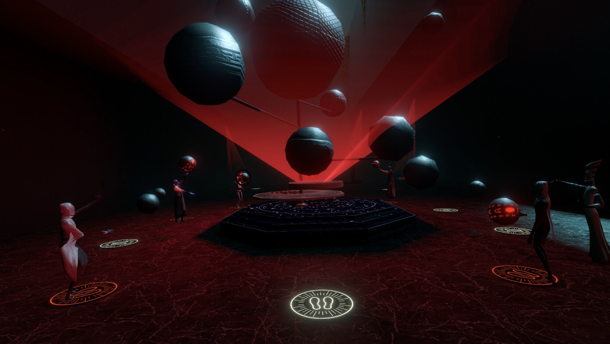A group of people are standing in a circle in a red room around nine or ten hovering planets on the floor there are lit up foot markings. Everyone is wearing hooded robes.