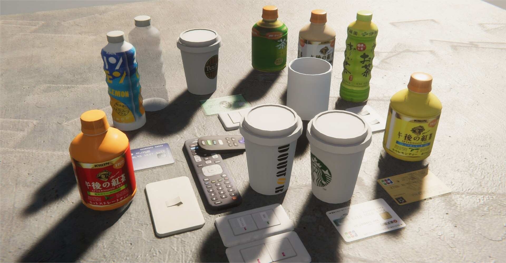 Trap objects: coffee cups, TV Remotes, ID Cards, Water Bottles, Drink Bottles