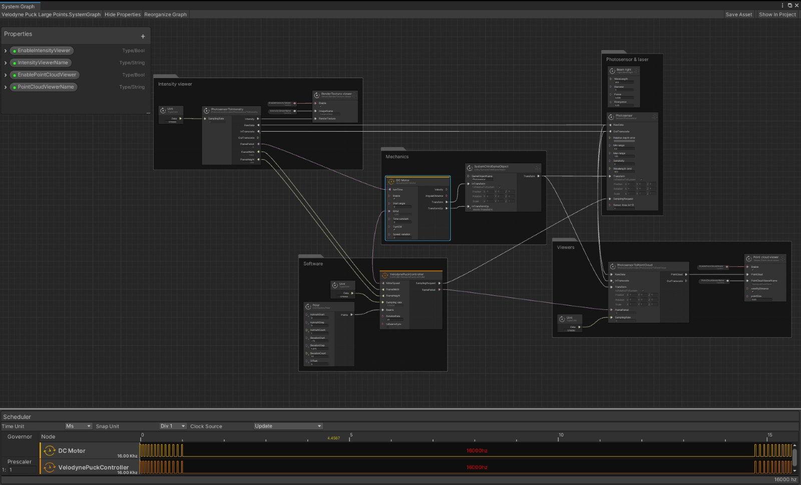 A system graph construct within Unity.