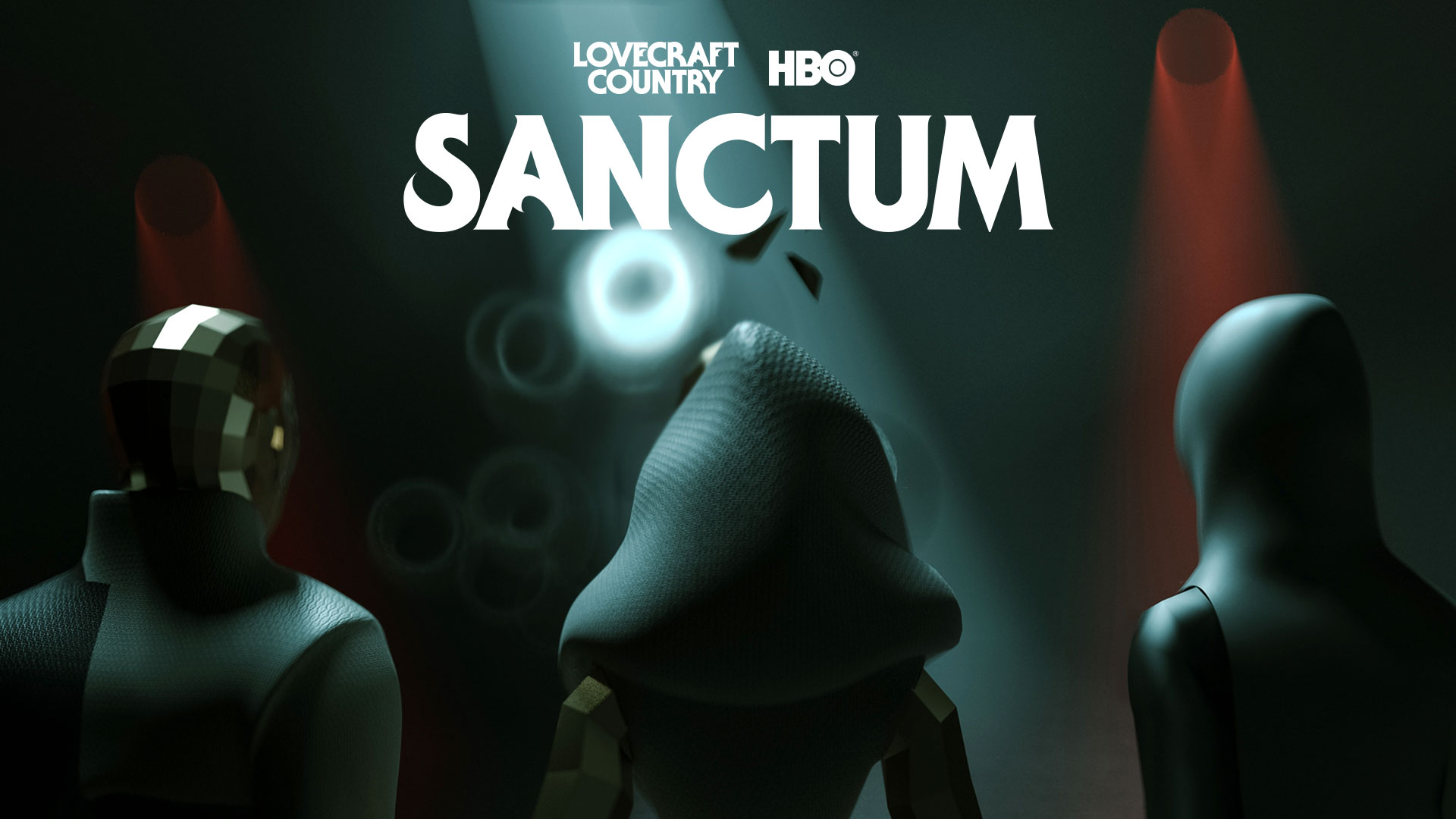 Lovecraft Country - Sanctum. Three people. Two in animated white hoods and one a disco ball like helmet