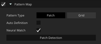 A Unity editor menu. The menu is called Pattern map and has a check box to the left that is ticked. Below are three options  'Pattern Type' next to it is two options to select 'Patch' or Grid'. Grid is selected. Below Pattern Type is 'Auto Definition' is has a check box next to it and it is not selected. Below this is the word 'Neural Match' there is a check box next to it and it is ticked. Below this is a box that says 'Patch Detection' and it is not selected.