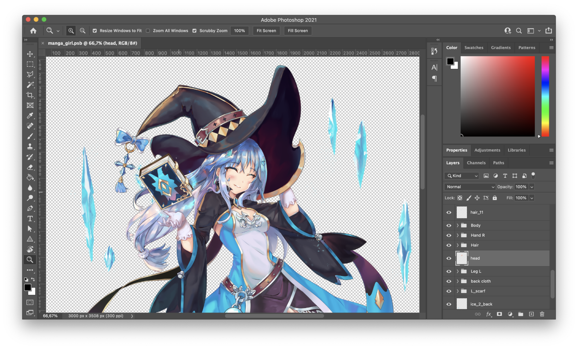 A photoshop file of a happy witch with blue hair