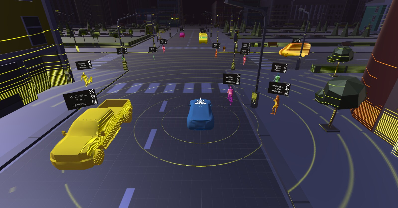 Lidar simulation, blue car is in the middle with yellow circles surrounding it