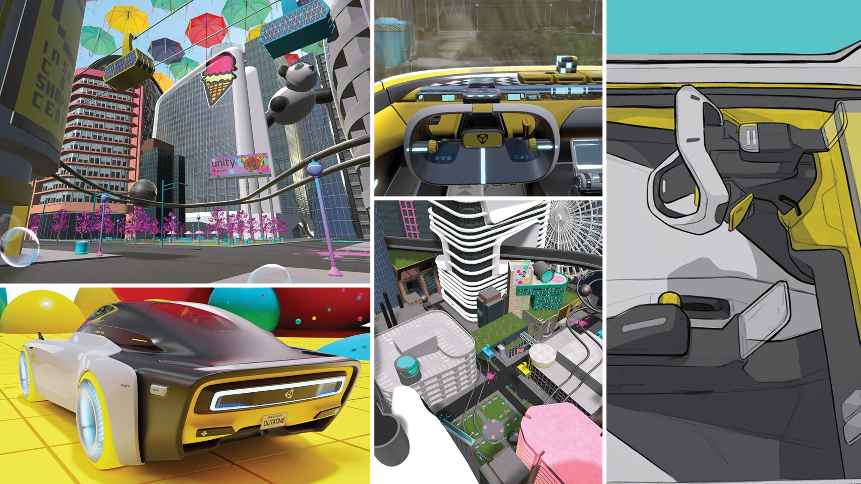 A 'dreamscape' filled with cars, bright colours, panda balloons and huge umbrellas
