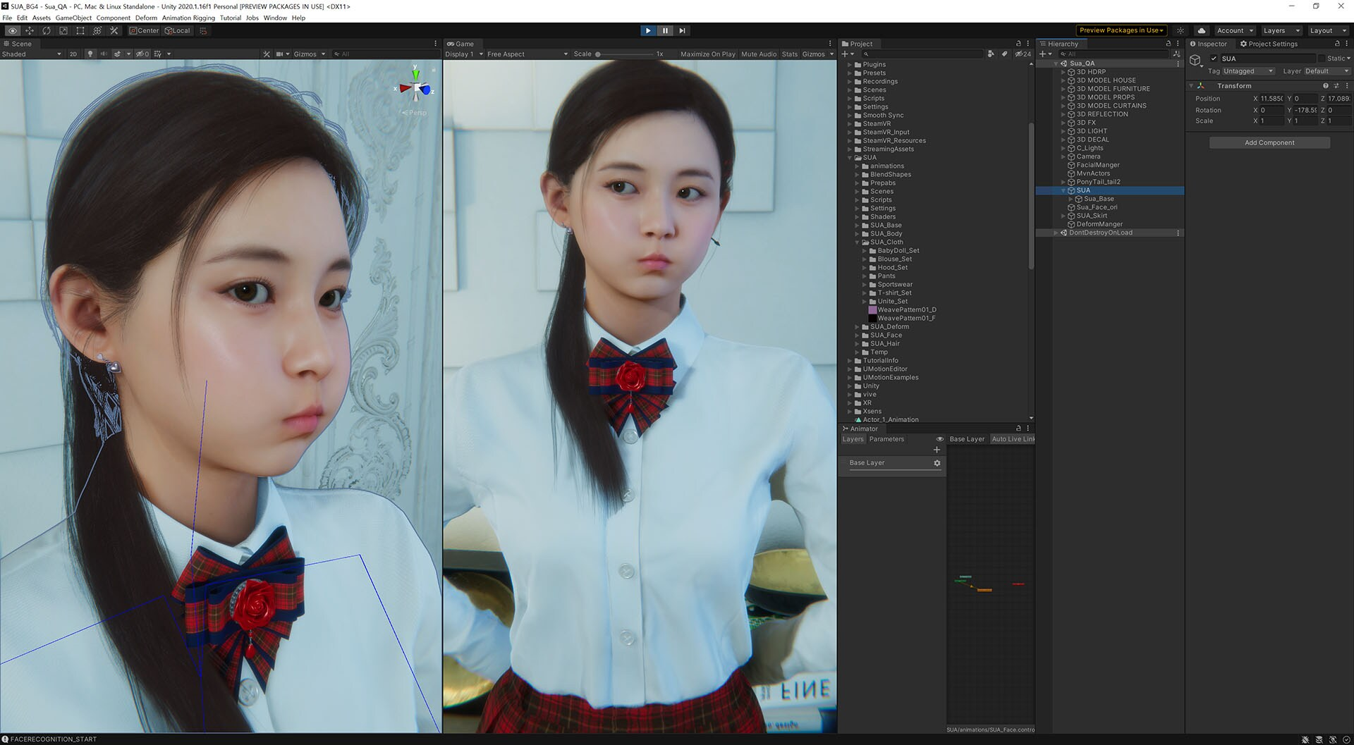 SUA making facial expressions, set up in the editor