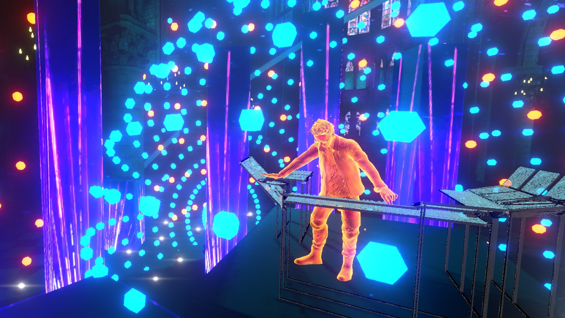 """Image displays the virtual New Year's Eve concert """"Welcome to the Other Side"""" and features a colorful blue and purple background with sparkly lights and a musician in the foreground playing a keyboard"""