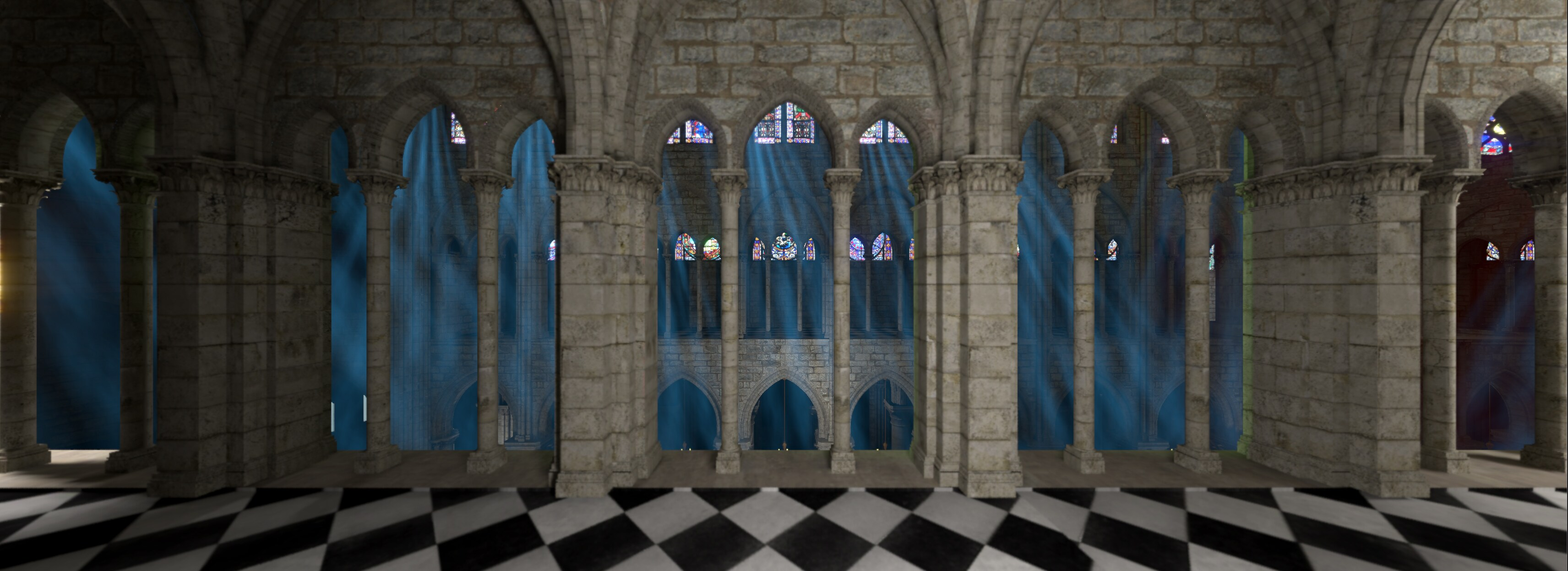 Side view of the virtual Notre Dame experience with playful blue lighting