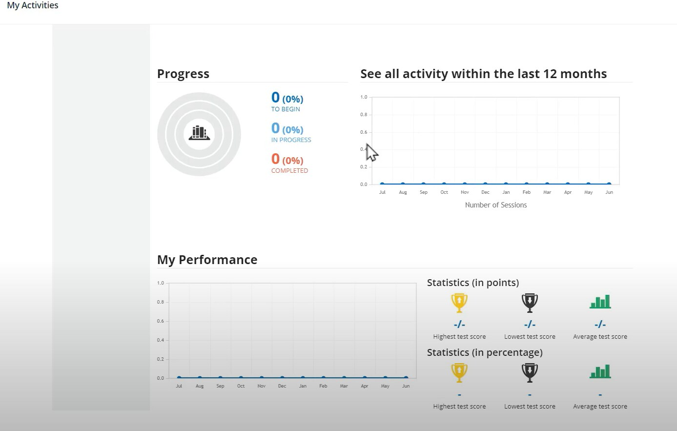 screenshot of personal tracking page