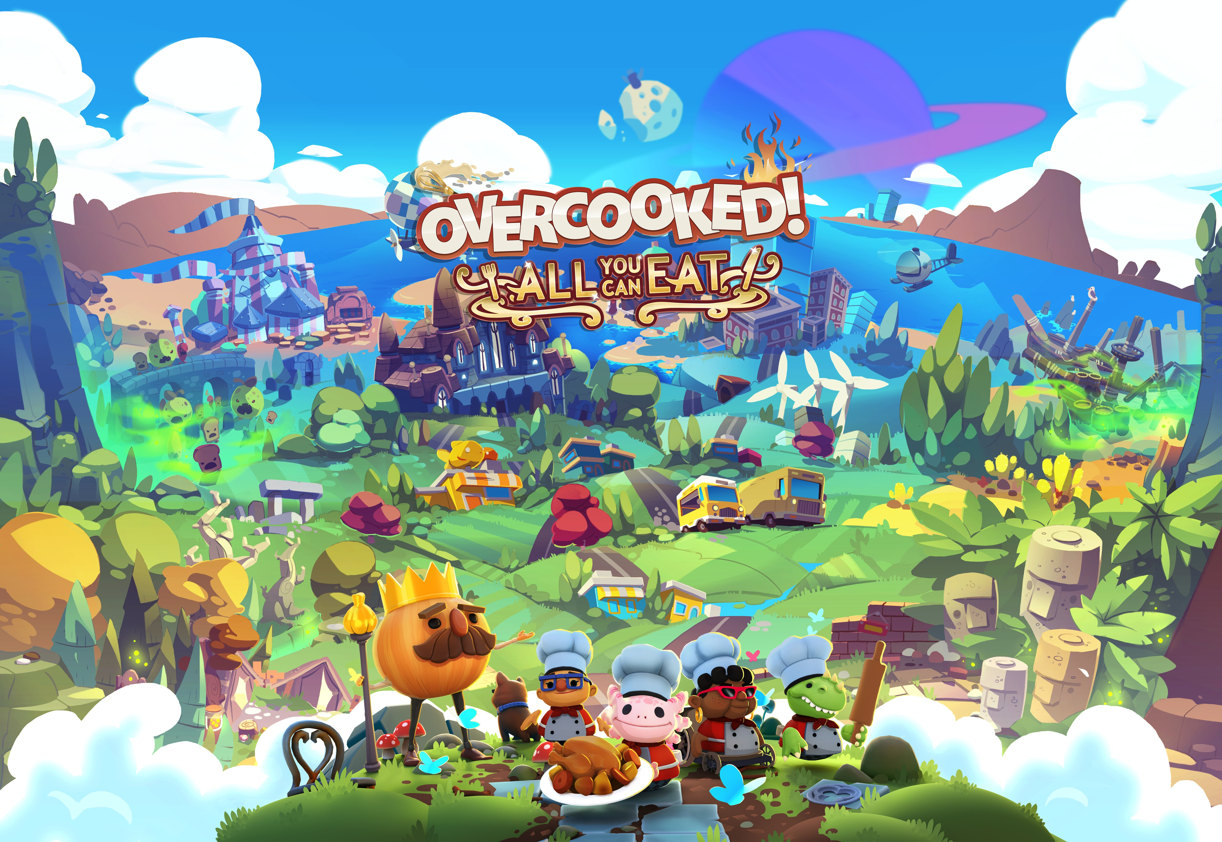 Big landscape of Overcooked characters