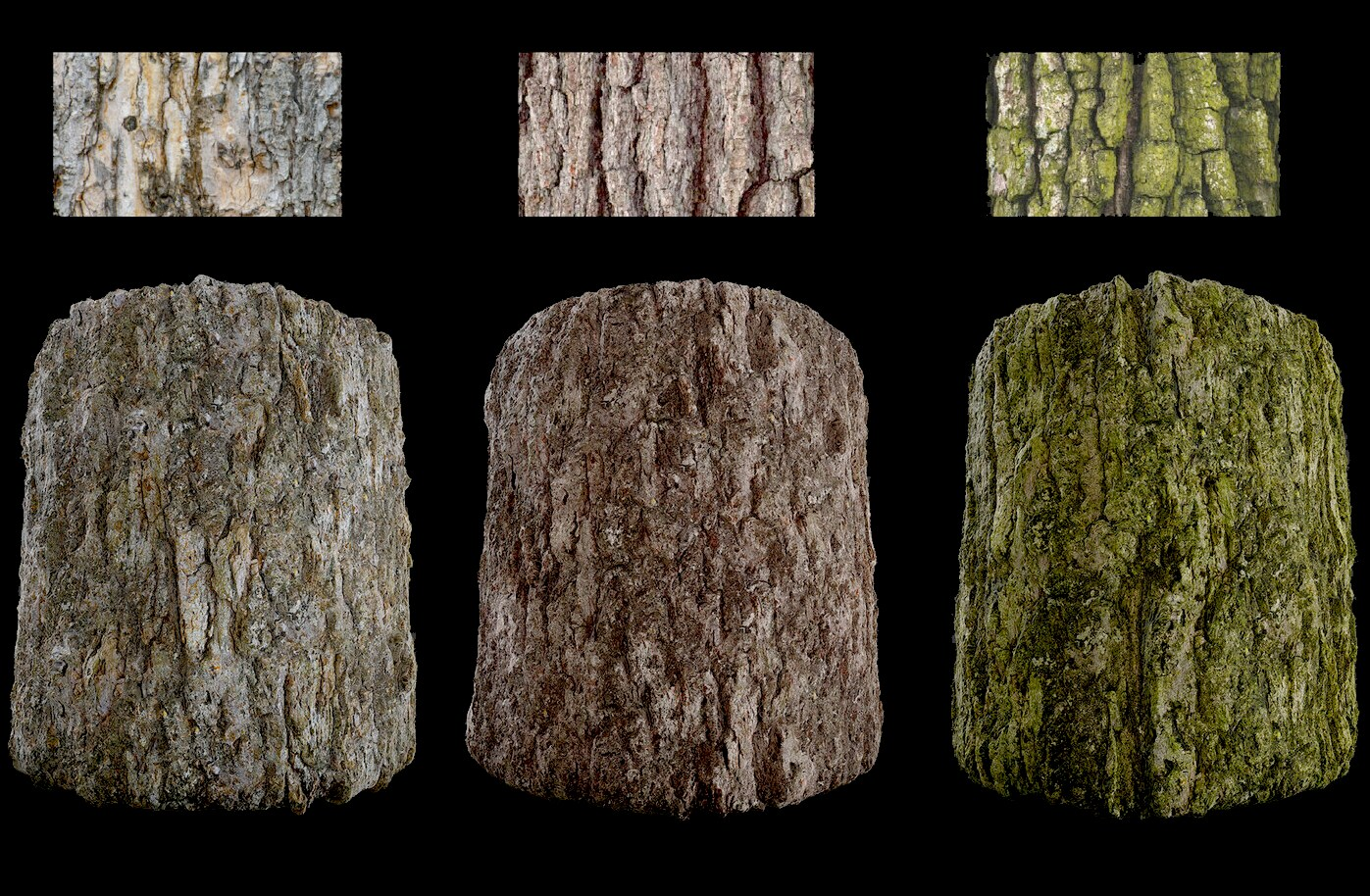 Variations of tree bark material created