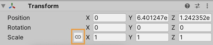Grey tranform menu with different numbers in the position, rotation and scale boxes. An icon that looks like a paper clip is circled/highlighted in yellow.