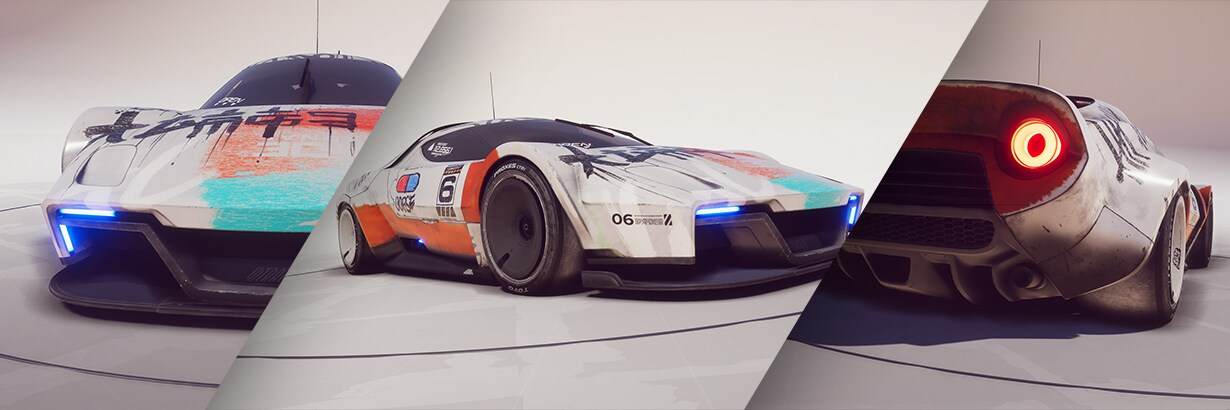 Image showing 3 up close images of the Unity Forma car created by the creator Denai Z. The image shows the front side and back view of the white car that won the Forma Challenge.