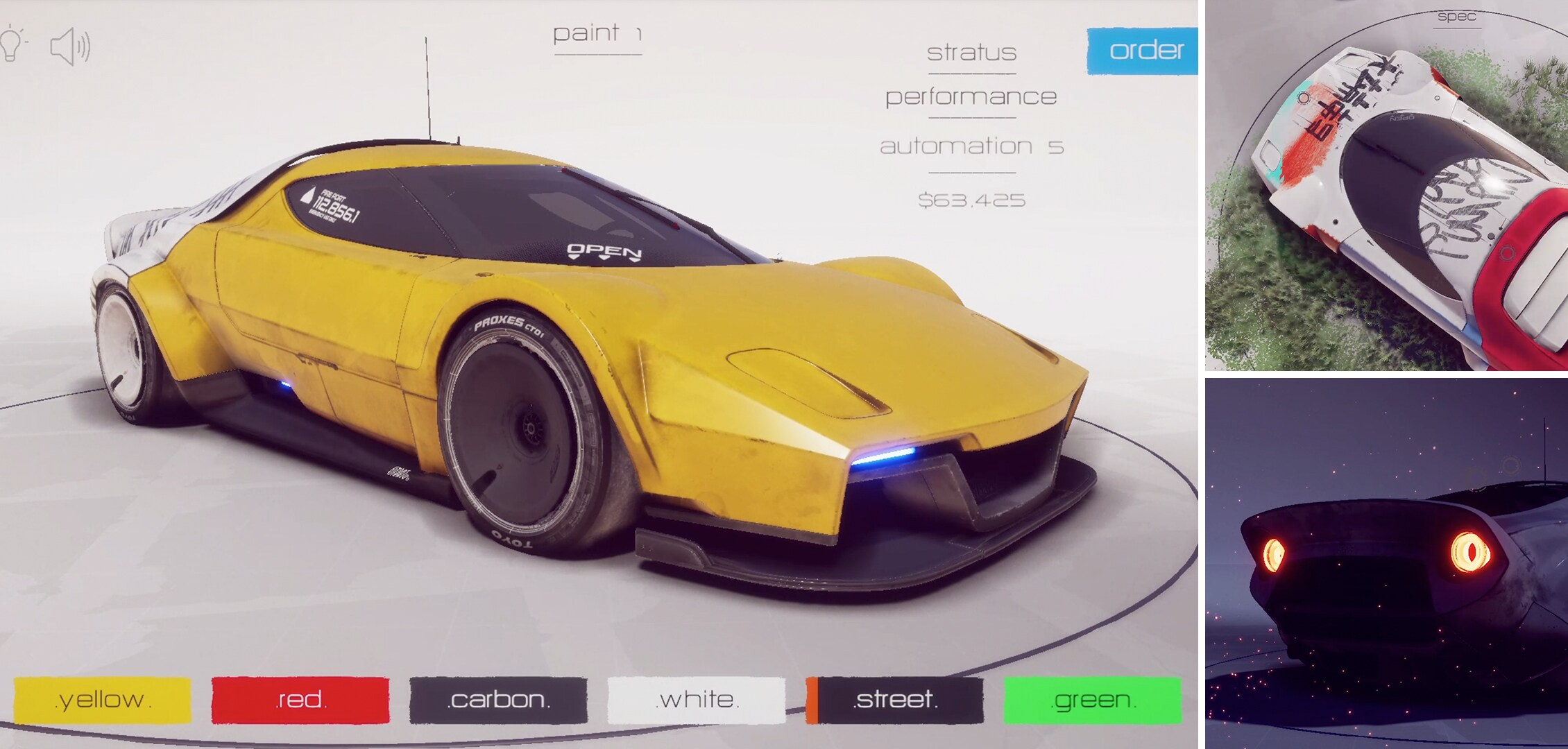 Project collage of the Forma Challenge winner showing the front top and back of the car created with Unity.