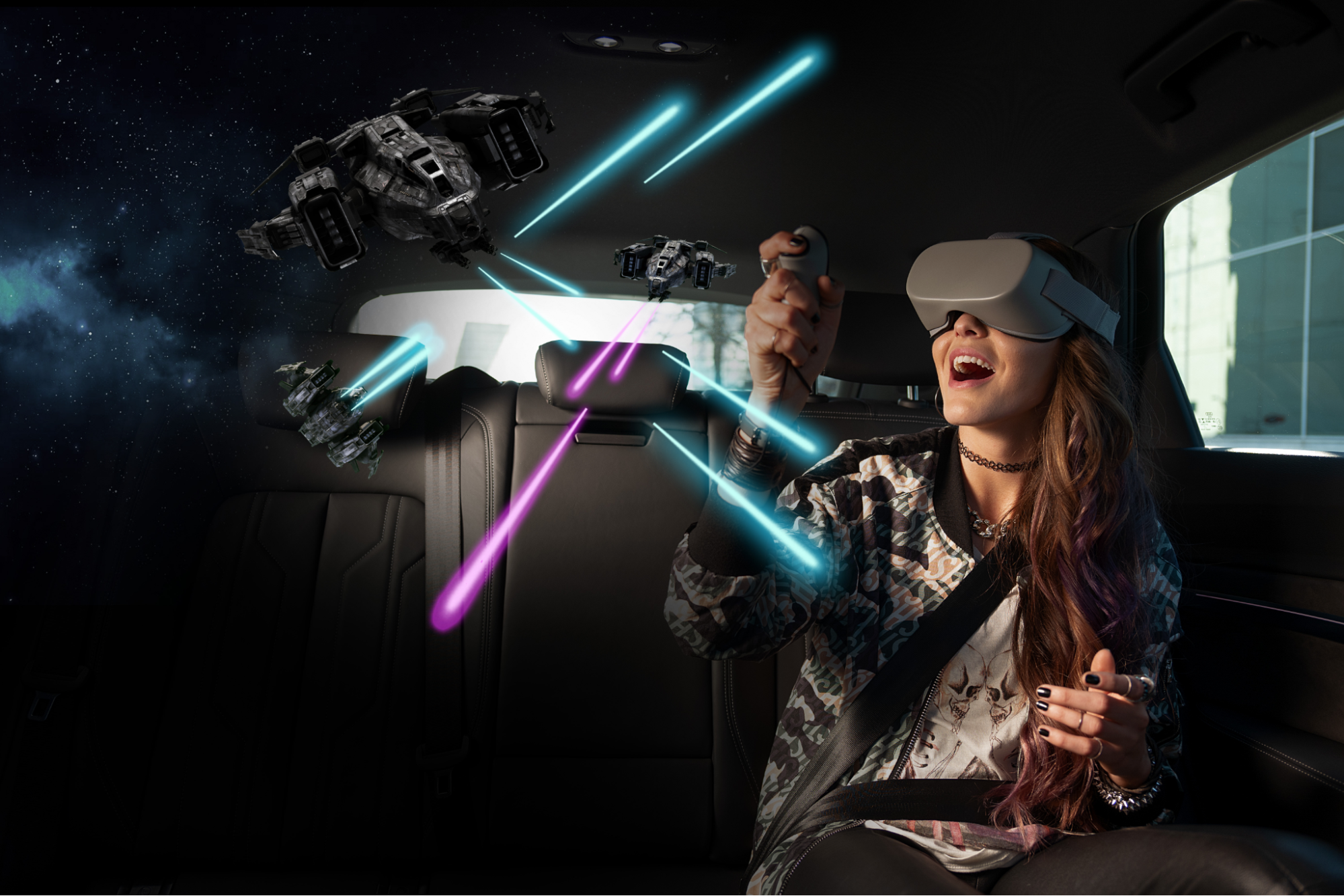 Girl in a sedan with black leather interior wearing a grey VR headset playing a Star Wars-esk game