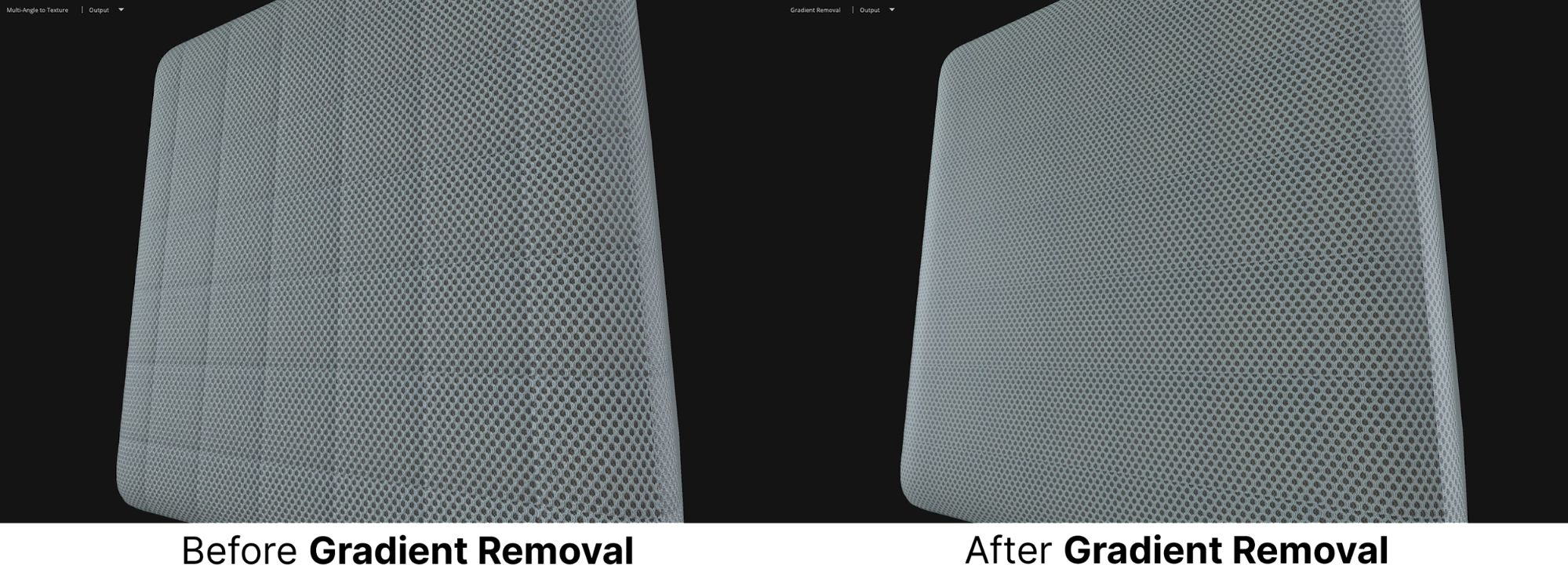 Image showing a before and after of adding a texture gradient to speakers in ArtEngine