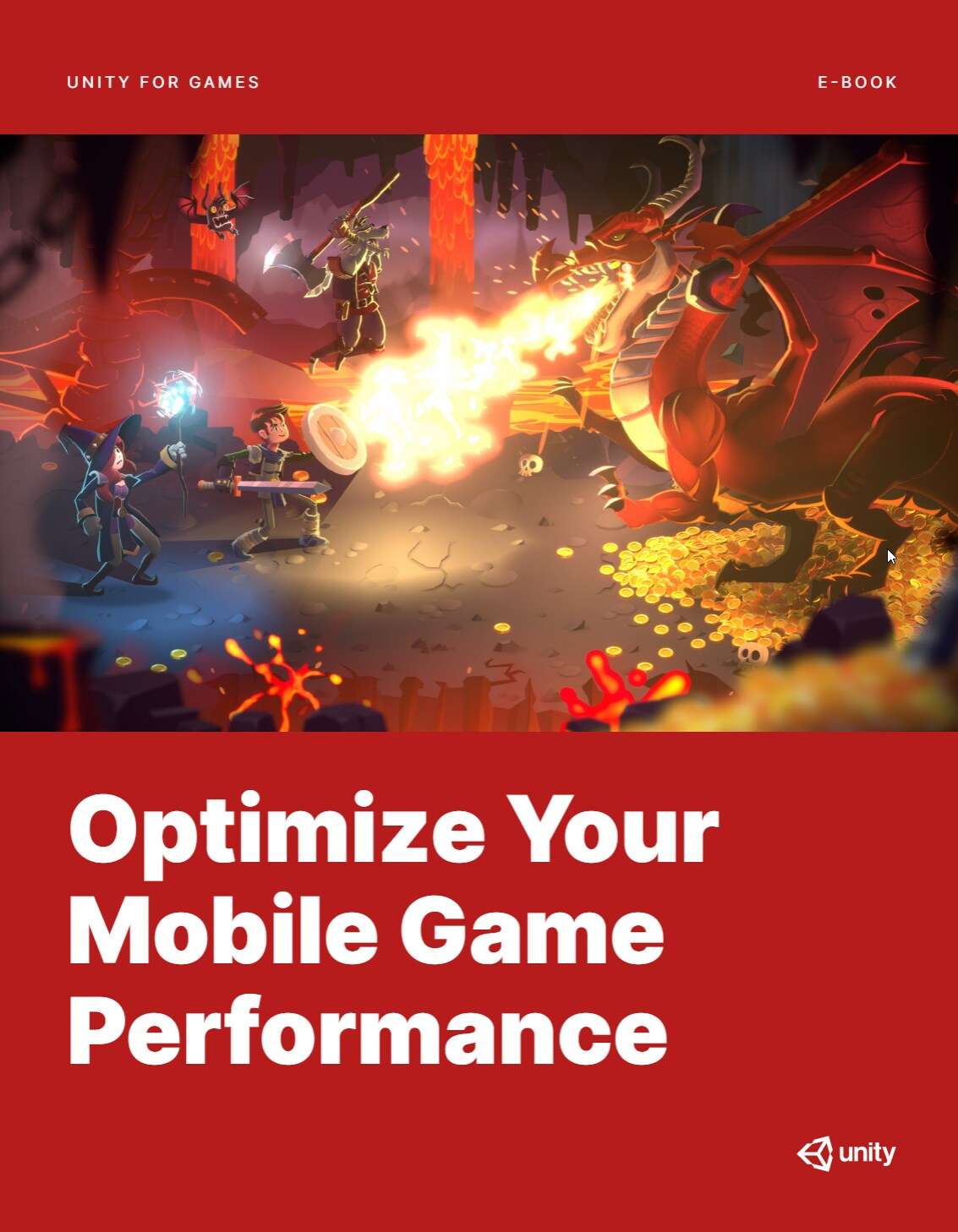 """Image of the ebook cover with red background and a graphic of an adventure game with a dragon and the words """"Optimize your mobile game performance"""" in bold white text."""