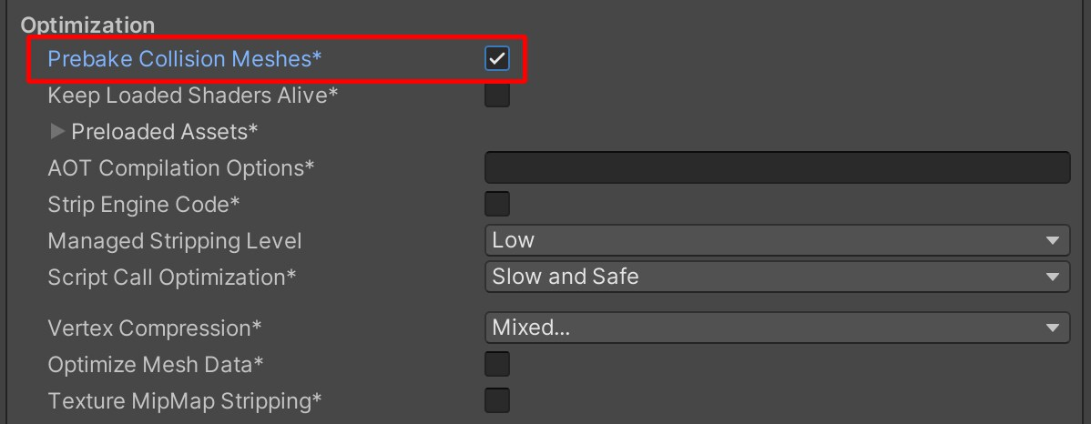 """Image of the in player settings box with a dark grey background and the text """"prebake collision meshes*"""" checked and squared off in red"""