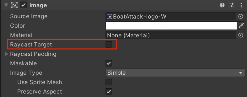 """Image dialog box with a grey background and the text """"Raycast Target"""" outlined in a red square."""