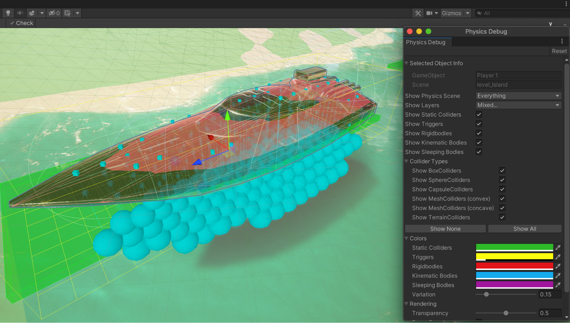 Image of an orange boat with a mesh overlay and a blue shadow inside the physics debugger dialog box.