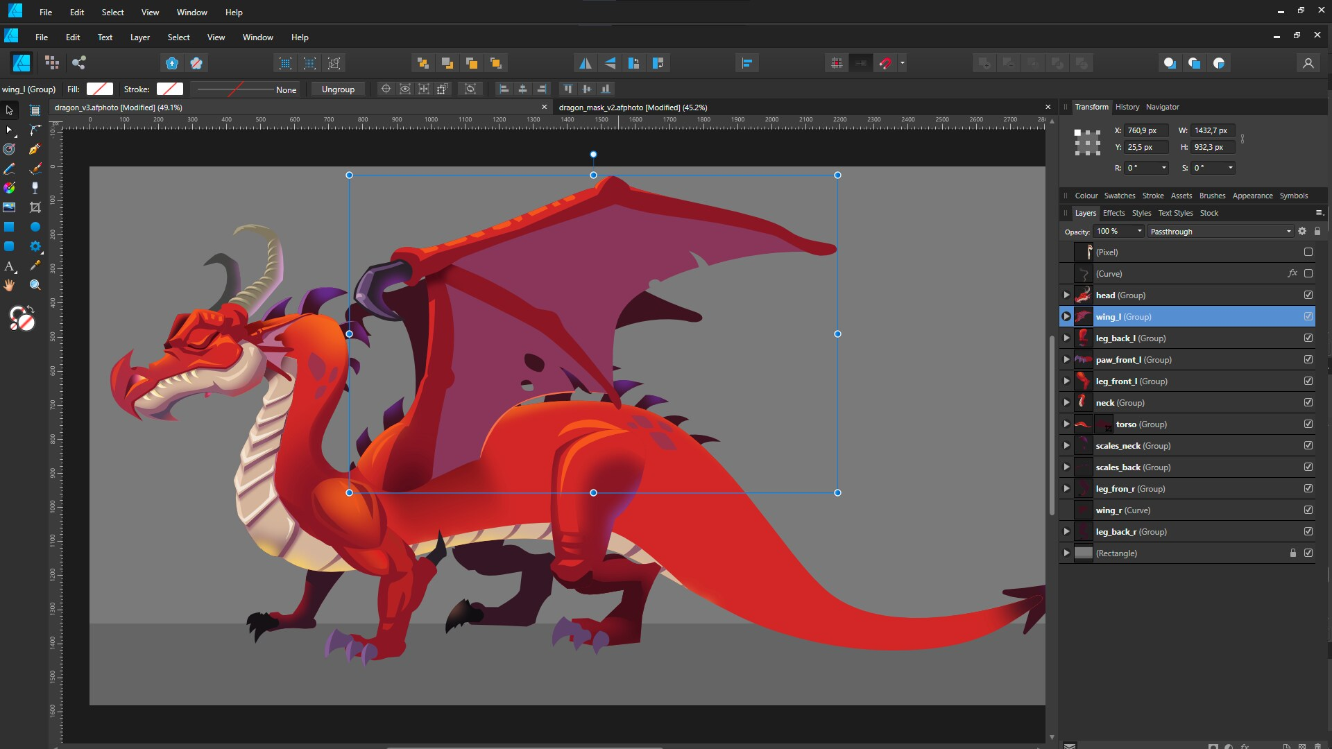 Image of dragon made using vector graphics