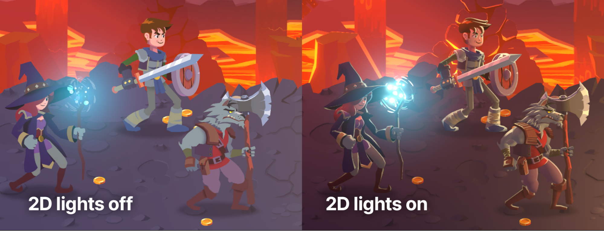 With the 2D lights turned off we can observe that the sprite has the color information (albedo) but looks flat because it doesn't contain light or shadow information.