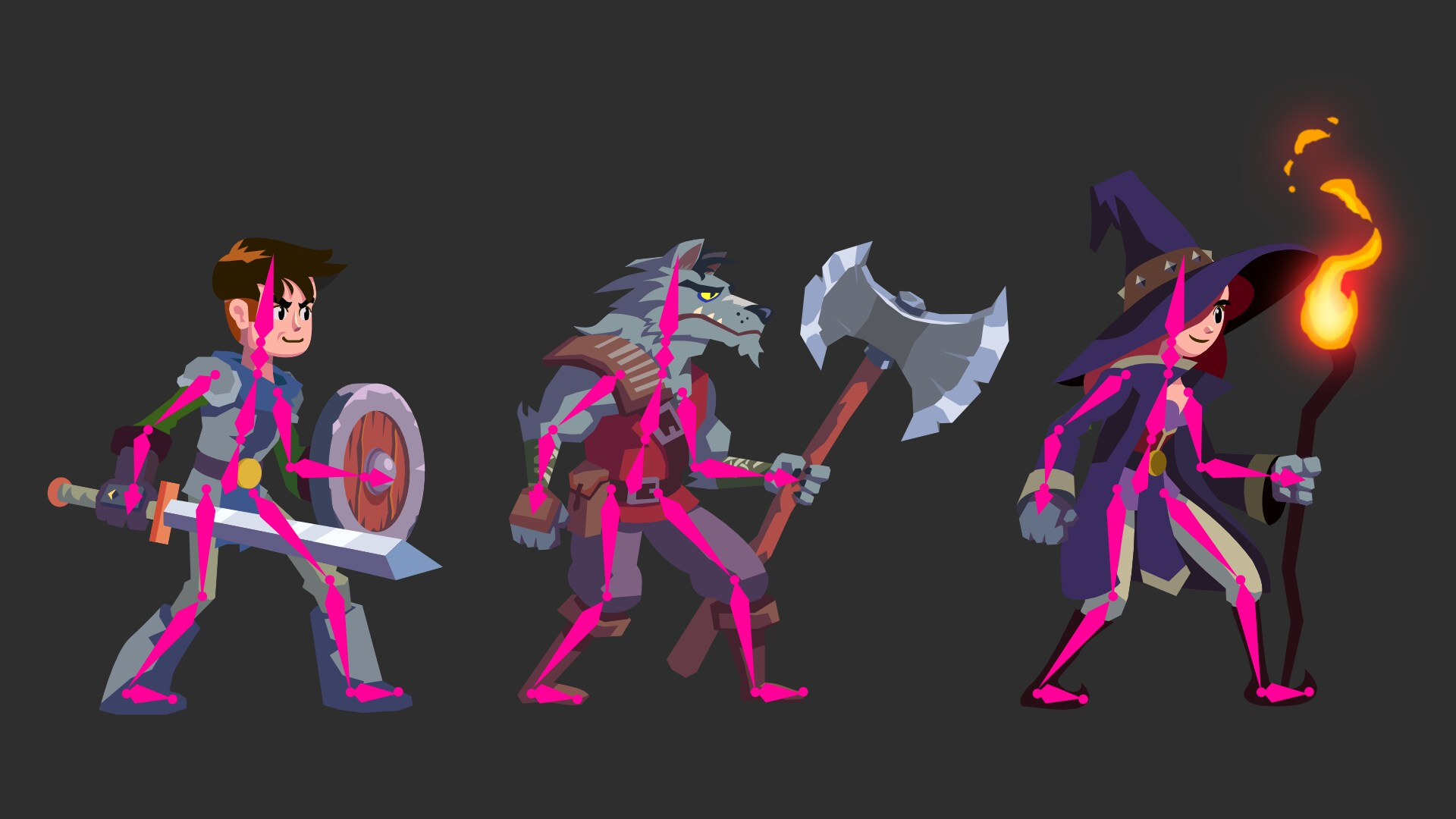 Different characters using the same sprite-skinning skeleton