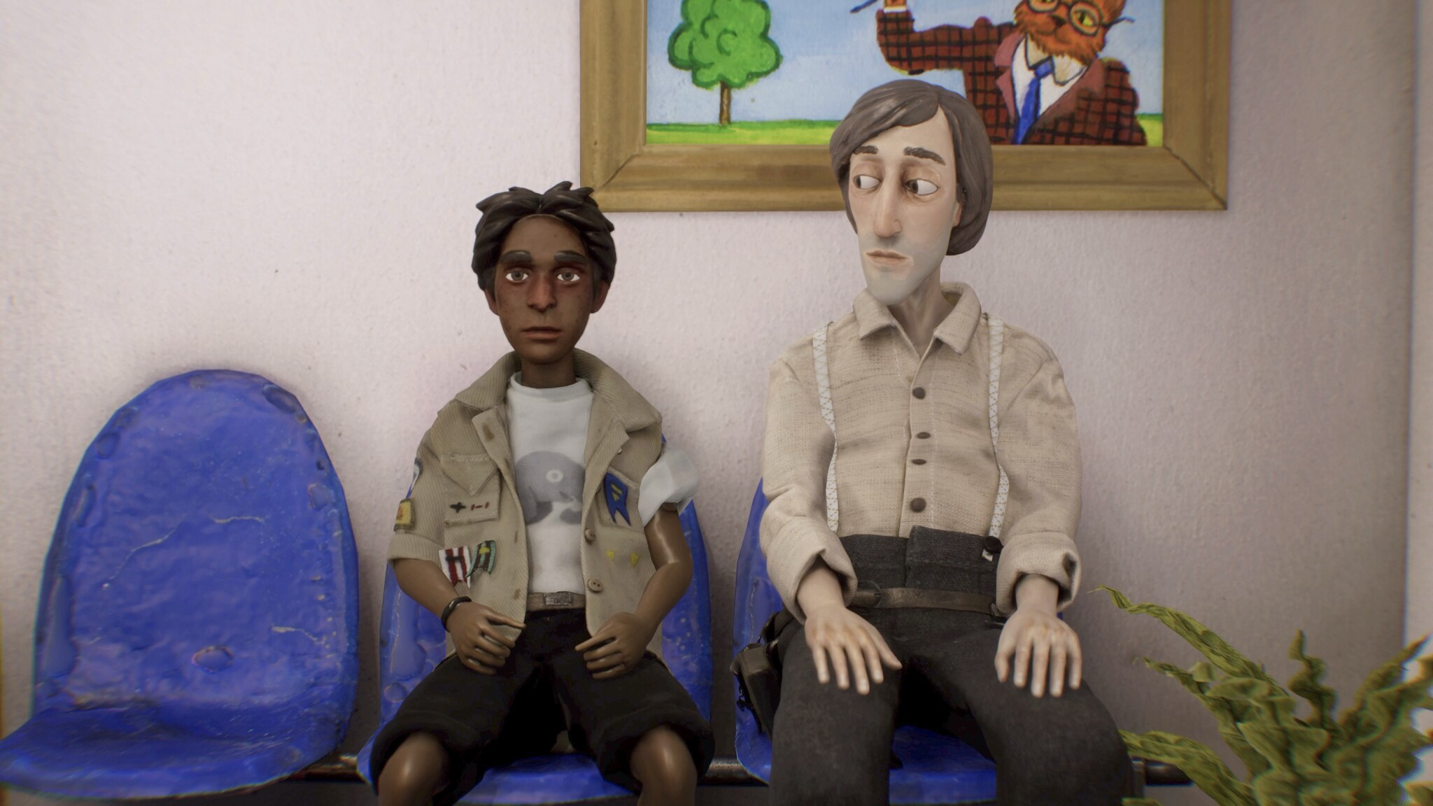 Animation of two men sat next to each other in a waiting room, there is an empty chair next to them