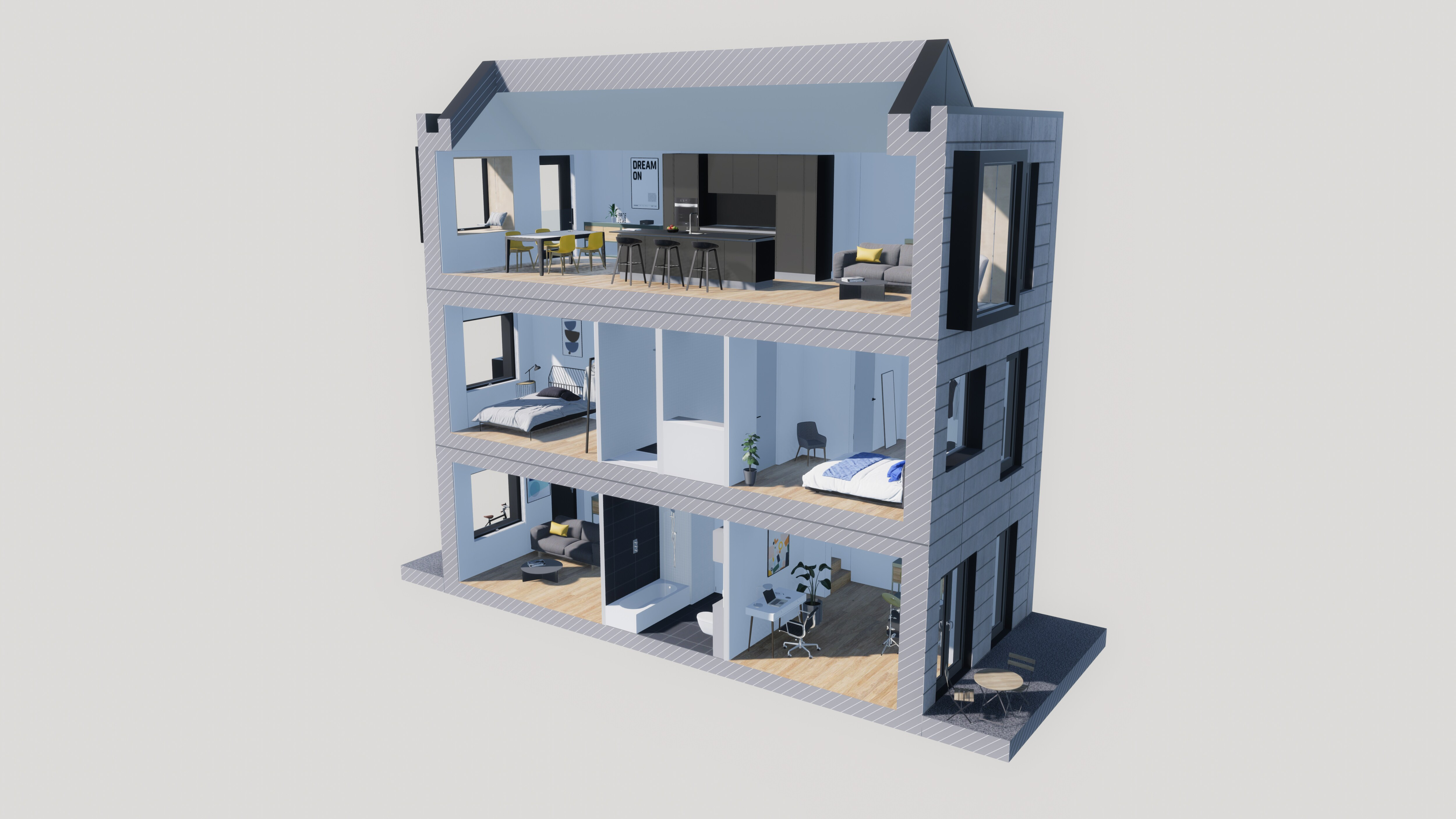 3D blueprint of a house that allows you to see inside almost like a dollhouse.
