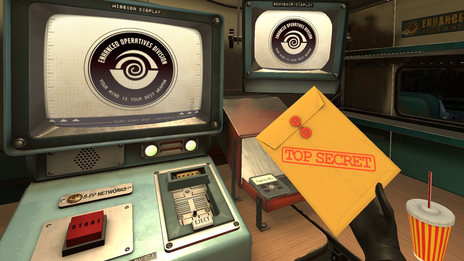 screenshot of game with manila envelope next to old fashioned tech