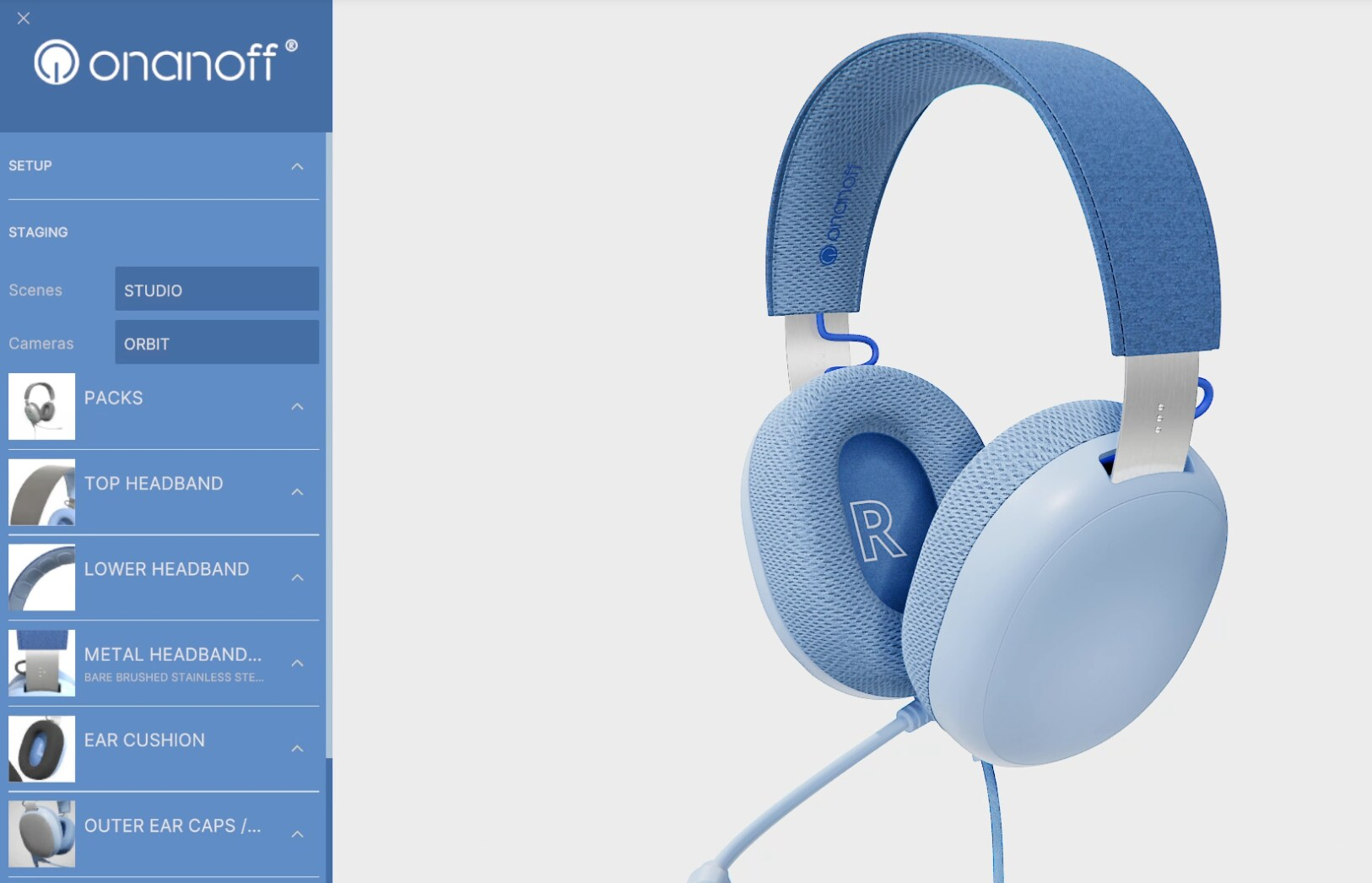 Image of furious stream presentation of buddy headphones with a menu selection and 3d rendering of the headphones on the right