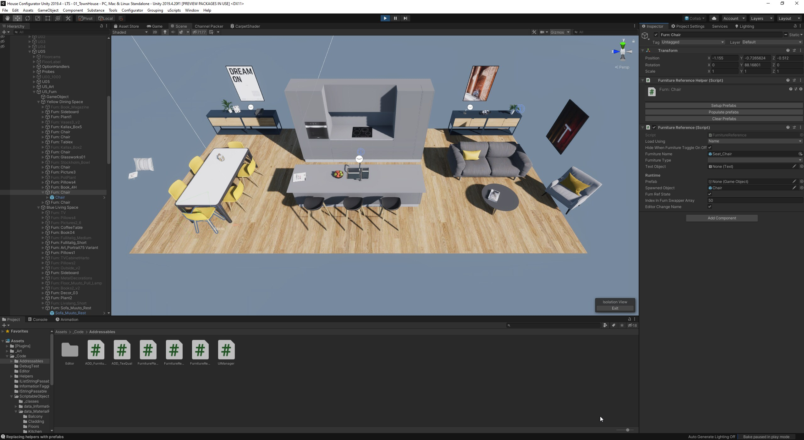 Screen cap of a 3D rendering of a room in Unity