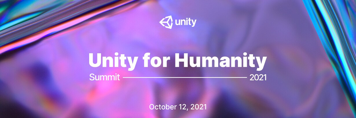 Unity for Humanity summit banner with a multicolor background and white text