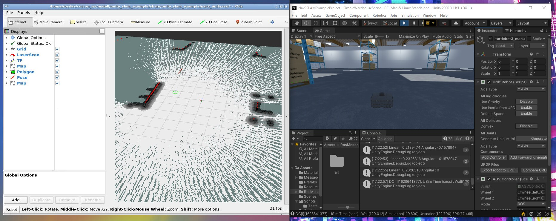 Left: RViz display of ROS 2 messages generated in and sent by Unity. Right: TurtleBot 3 performing SLAM and autonomous navigation in Unity.