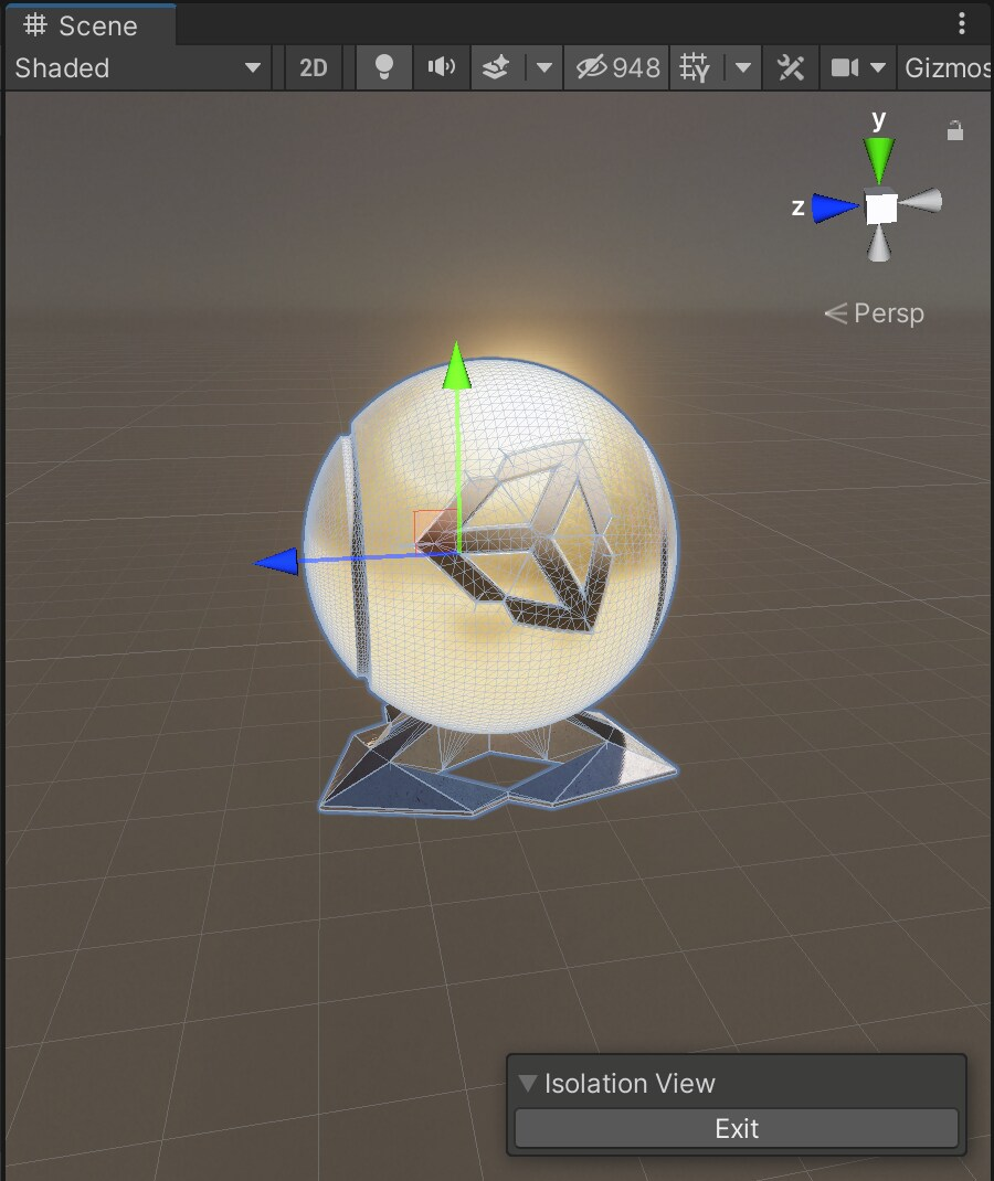 Isolation View allows you to edit a GameObject without distractions.