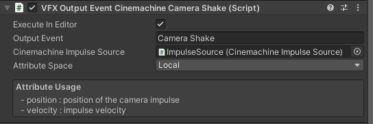 Image of the in-editor VFX Output Event